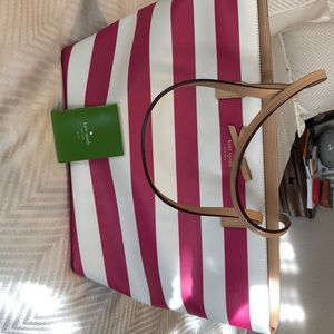 Kate Spade New York Pink and White Stripe bag